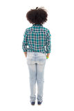 Back view of african american teenage girl isolated on white Royalty Free Stock Photo
