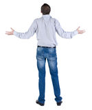 Back view of angry young man. Stock Photo