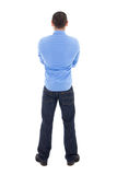 Back view of arabic business man in blue shirt isolated on white. Background Royalty Free Stock Photography