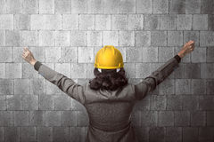 Back view architect raise hand Royalty Free Stock Images