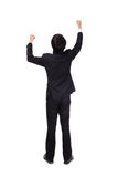 Back view of arms raised business man. Back view of Excited business man with arms raised in full length Isolated on white background, mode is a asian people Stock Image