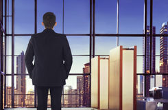 Back view of asian businessman looking cityscape Stock Images
