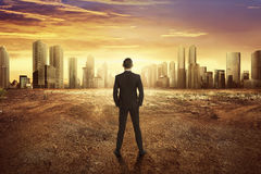 Free Back View Asian Businessman Looking Dry Land Effect Of The Climate Change Royalty Free Stock Photo - 85660535