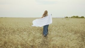 Back view of attractive young woman in a long blue dress running through golden wheat field holding a shawl in her hands stock video footage