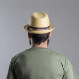 Back view of bearded man with straw hat looking away Royalty Free Stock Photography