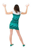 Back view of of beautiful brunette woman Stock Photo