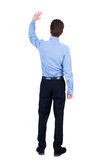Back view of beautiful business man welcomes. Royalty Free Stock Images