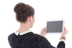 Back view of beautiful business woman showing tablet pc with emp Stock Photography