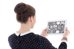 Back view of beautiful business woman showing tablet pc with mul Stock Photography