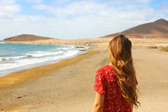 Back view of beautiful girl in red dress standing on the beach, El Medano, Tenerife.  stock image
