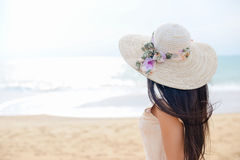 Back view of beautiful gorgeous female on beach outdoors background Royalty Free Stock Photography