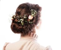 Back view of beautiful haircut with small flowers Royalty Free Stock Photos