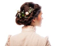 Back view of beautiful haircut with small flowers Stock Photo