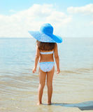 Back view of beautiful little girl child in swimsuit Stock Photography