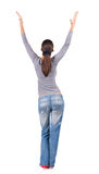 Back view of Beautiful woman in  jeans Stock Image