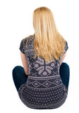 Back view of beautiful woman relaxes and looks into the distance Stock Photography