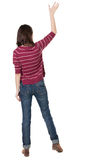 Back view of beautiful woman welcomes. Stock Photography