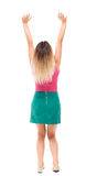 Back view of beautiful woman welcomes. Royalty Free Stock Photography