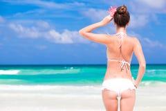 Back view of beautiful young woman in bikini Royalty Free Stock Photos