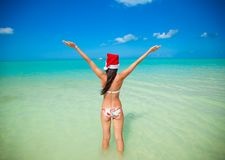 Back view of beautiful young woman in santa hat Royalty Free Stock Photography