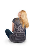 Back view of beautiful young woman sitting Royalty Free Stock Photo