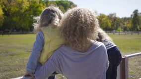 Back view of blond curly caucasian woman and her two daughters looking at the horse on the background. Caucasian family. Spending sunny autumn day outdoors stock video footage