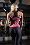 Back view of blondi sexy fitness girl Royalty Free Stock Photo