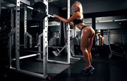 Back view of blondi sexy fitness girl Stock Images