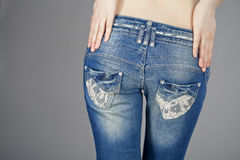 Back view, body part female blue jeans Royalty Free Stock Photo