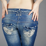 Back view, body part female blue jeans Stock Photo