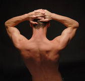 Back view of a Bodybuilder. Back view of an young man with flexing muscles stock images