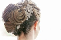 Bride hairstyle formal updo backview Stock Photos