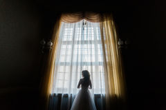 The back view of the bride standing near the castle window. The back view of the bride standing near the castle window Stock Photos