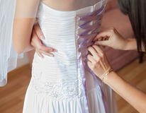 Back view of bride in wedding dress Royalty Free Stock Image