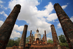 Back view of Buddha at Wat Mahathat in Sukhothai Stock Photography
