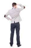 Back view of Business man  looks. Royalty Free Stock Photos