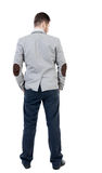 Back view of Business man  looks. Royalty Free Stock Images
