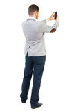 Back view of business man on phone photographs. Stock Photography