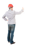 Back view of  business man shows thumbs up Royalty Free Stock Image