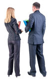 Back view of  business team look into the distance. Royalty Free Stock Photos