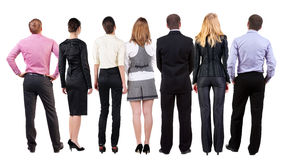 Back view of  business team looks Stock Photo