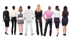 Back view of  business team looks Royalty Free Stock Photography