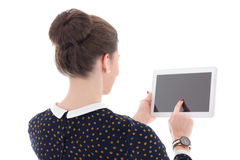 back view of  business woman holding tablet pc Stock Photo