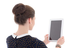 Back view of business woman holding tablet pc Royalty Free Stock Photo