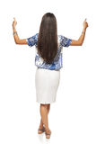 Back view of business woman showing double thumbup Royalty Free Stock Image