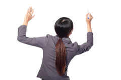 Back view of business woman writing Royalty Free Stock Photography