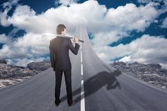 Businessman with katana sword standing on road that goes up to the sky vector illustration