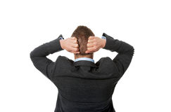 Back view businessman putting hands on the nape Royalty Free Stock Photography