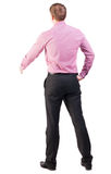 Back view of businessman in red shirt out to shake hands Stock Photos