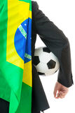 Back view of businessman with soccer ball and brazil flag Stock Image